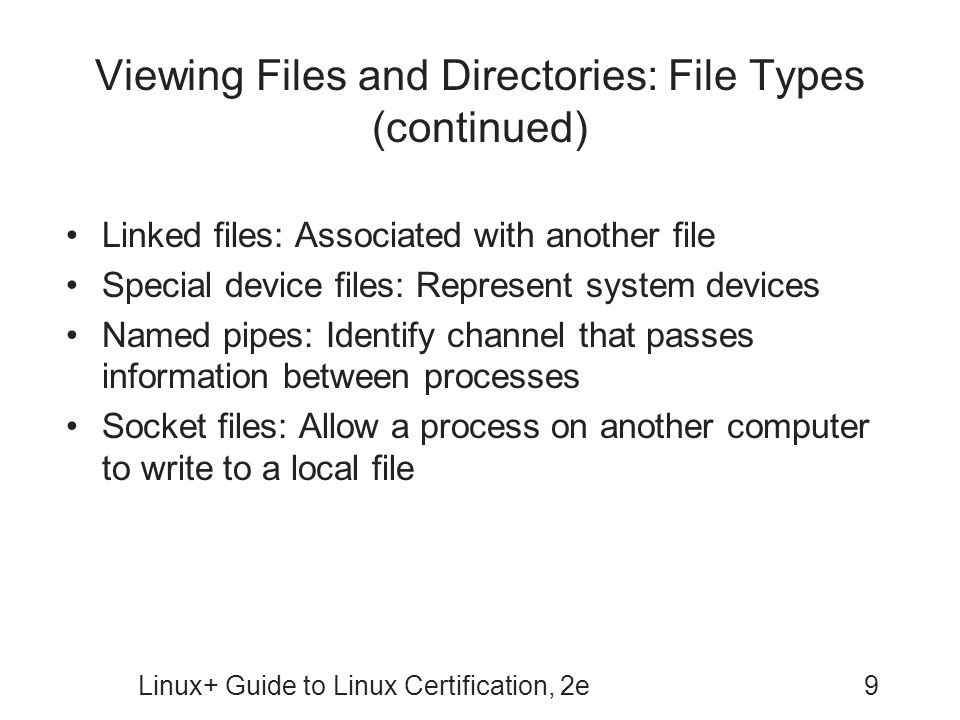 Viewing Files and Directories: File Types (continued)