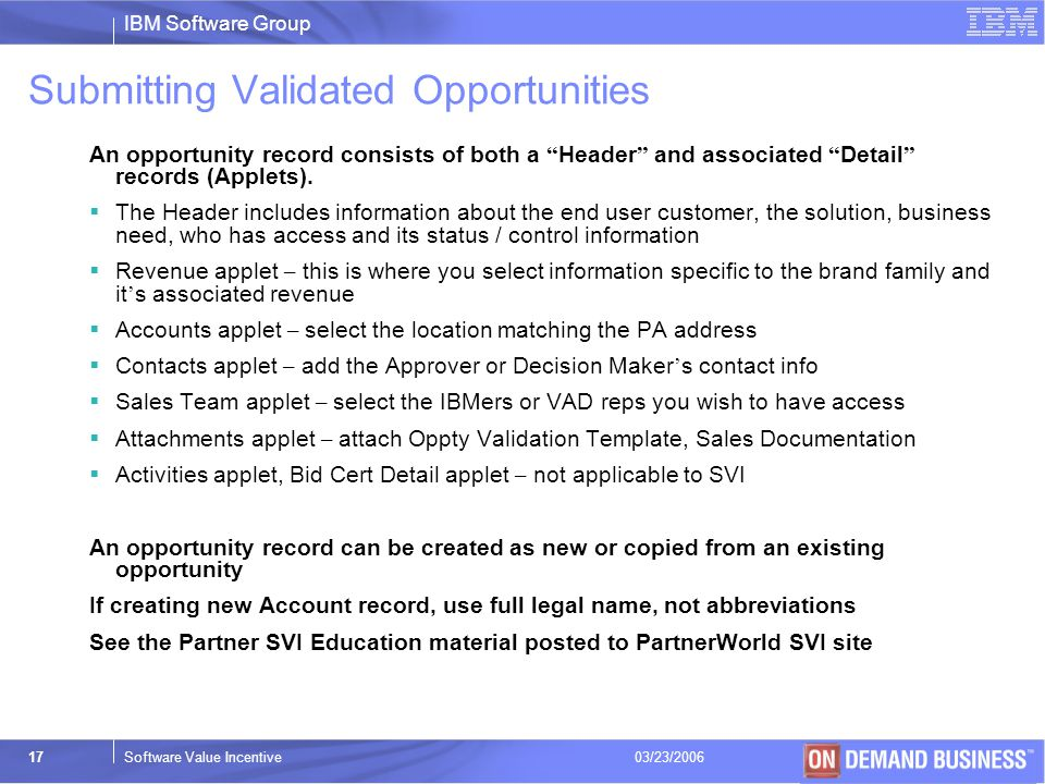 Submitting Validated Opportunities