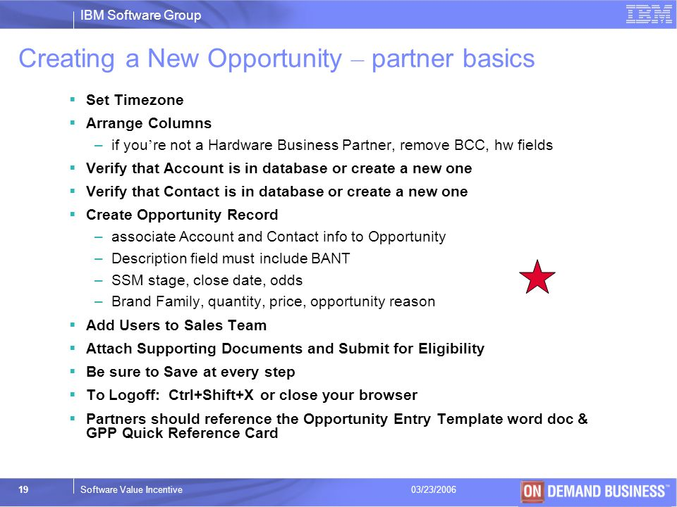 Creating a New Opportunity – partner basics