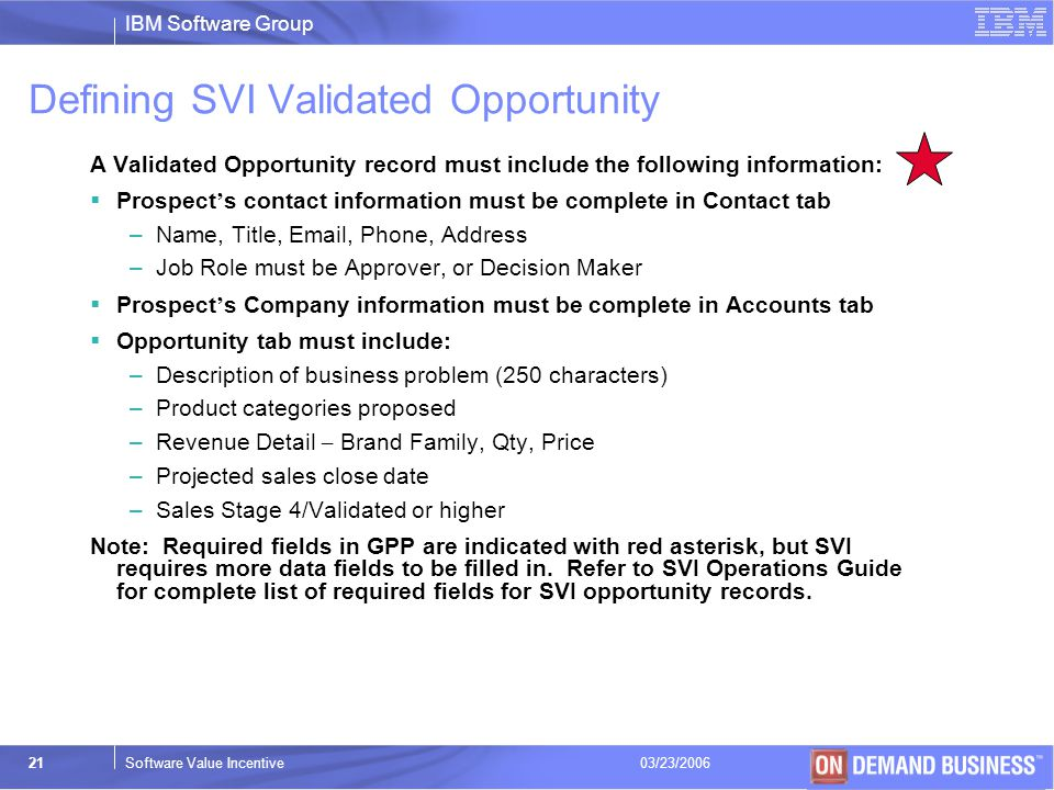 Defining SVI Validated Opportunity