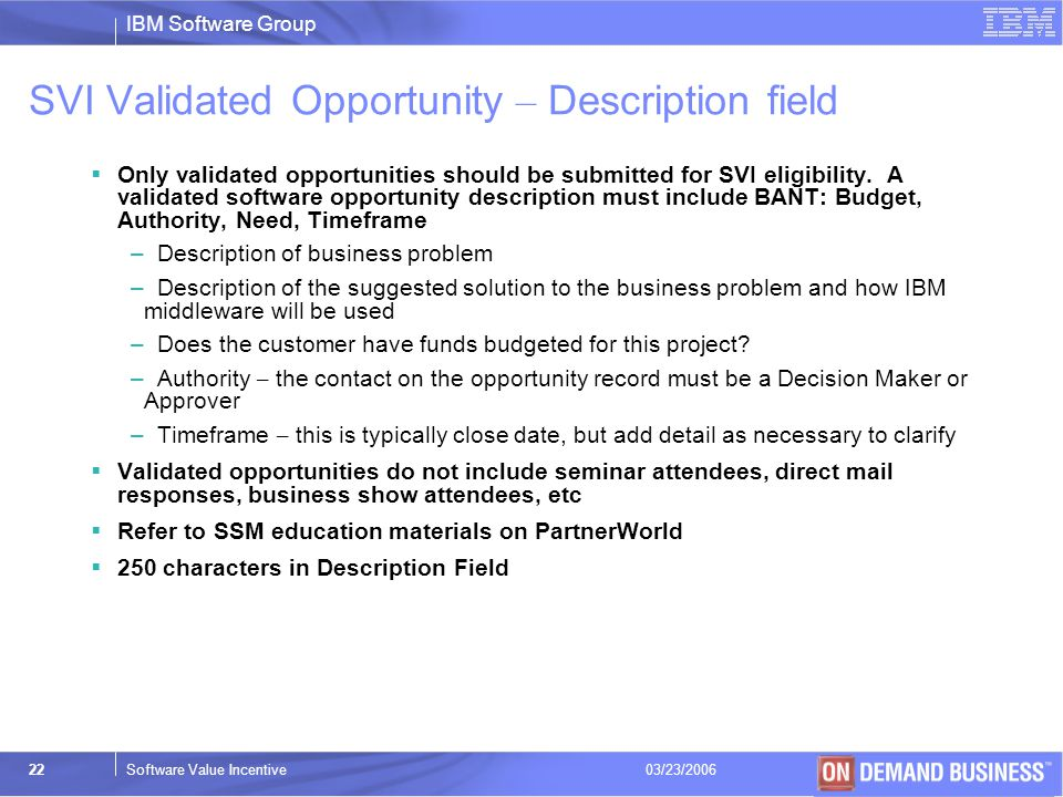 SVI Validated Opportunity – Description field