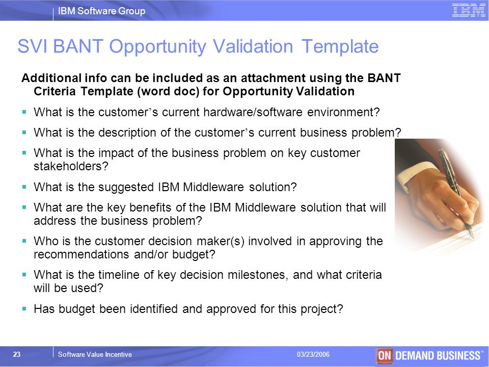 SVI BANT Opportunity Validation Template