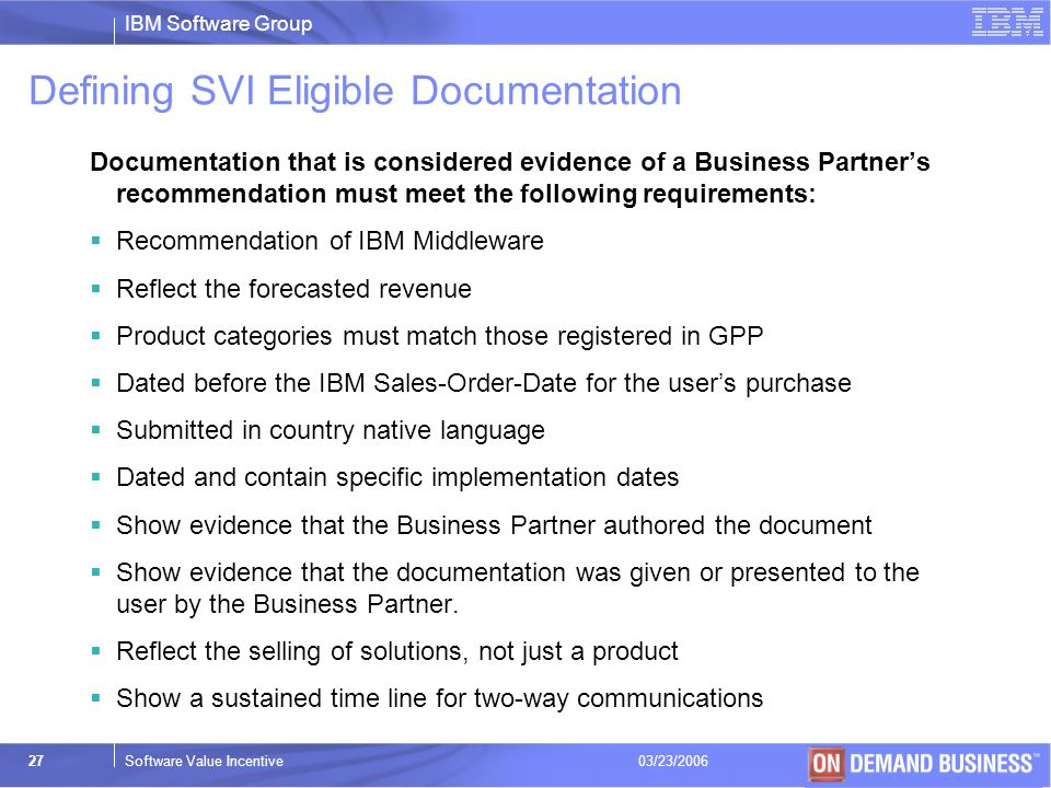 Defining SVI Eligible Documentation