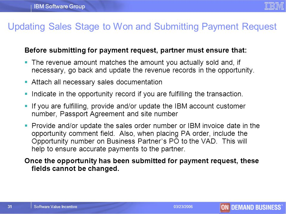 Updating Sales Stage to Won and Submitting Payment Request