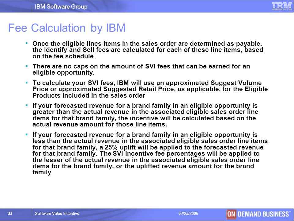 Fee Calculation by IBM