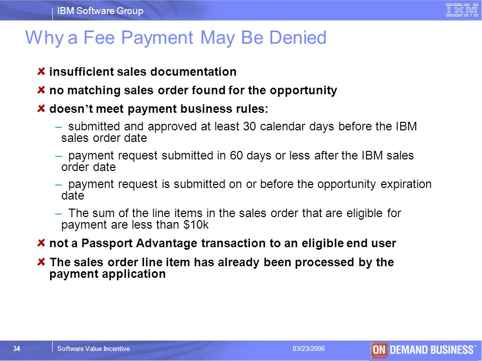 Why a Fee Payment May Be Denied