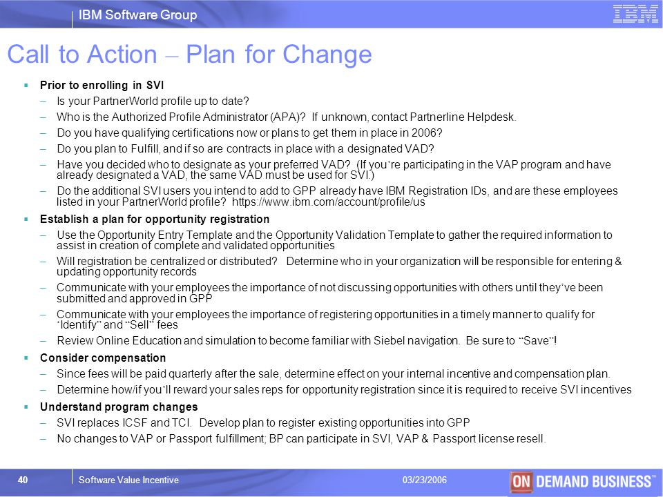 Call to Action – Plan for Change