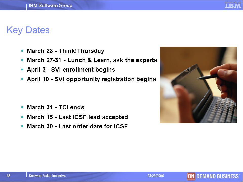 Key Dates March 23 - Think!Thursday
