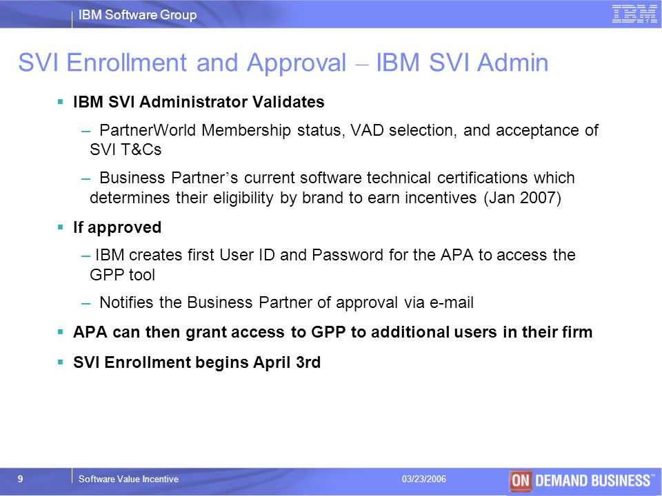 SVI Enrollment and Approval – IBM SVI Admin
