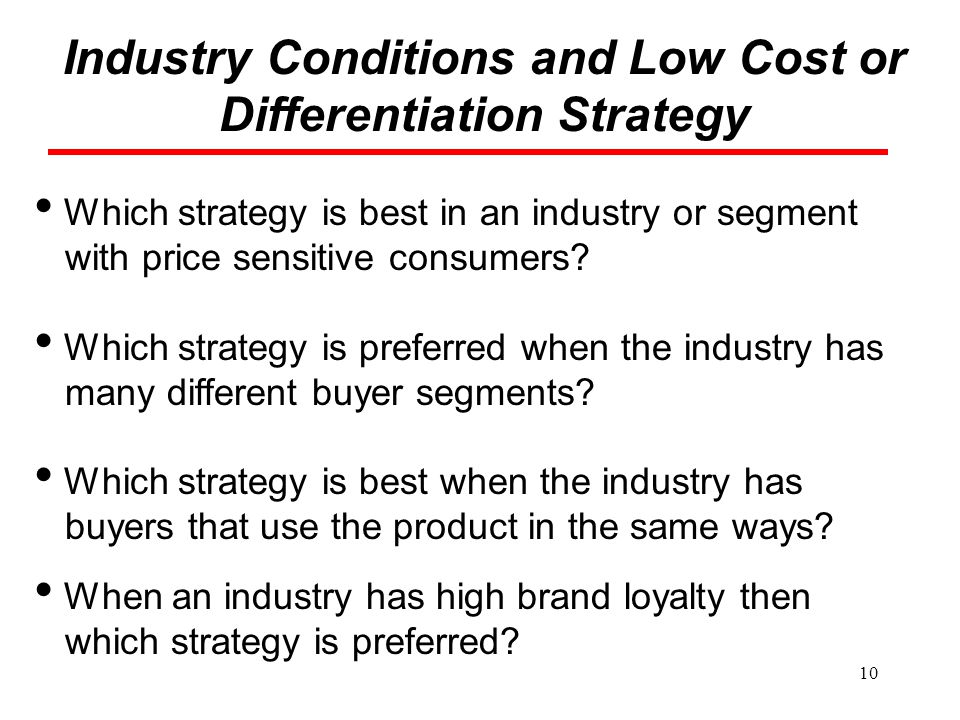 Industry Conditions and Low Cost or Differentiation Strategy