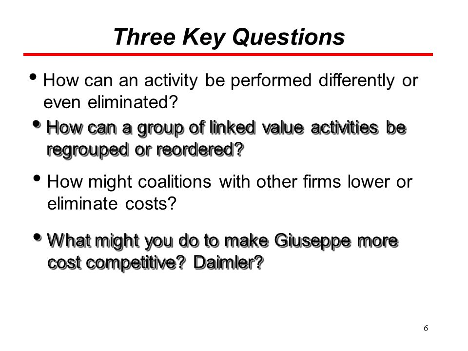 Three Key Questions How can an activity be performed differently or