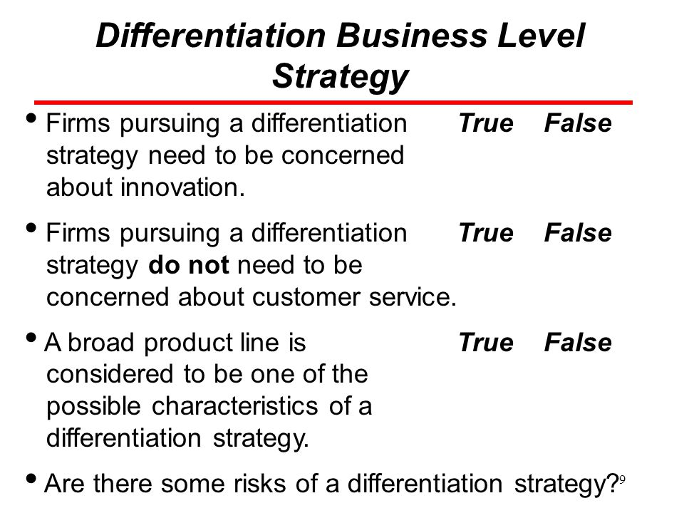 Differentiation Business Level Strategy
