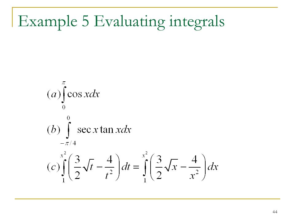 Example 5 Evaluating integrals
