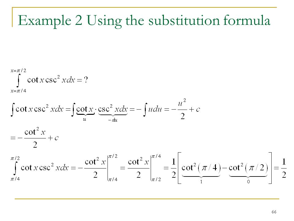Example 2 Using the substitution formula