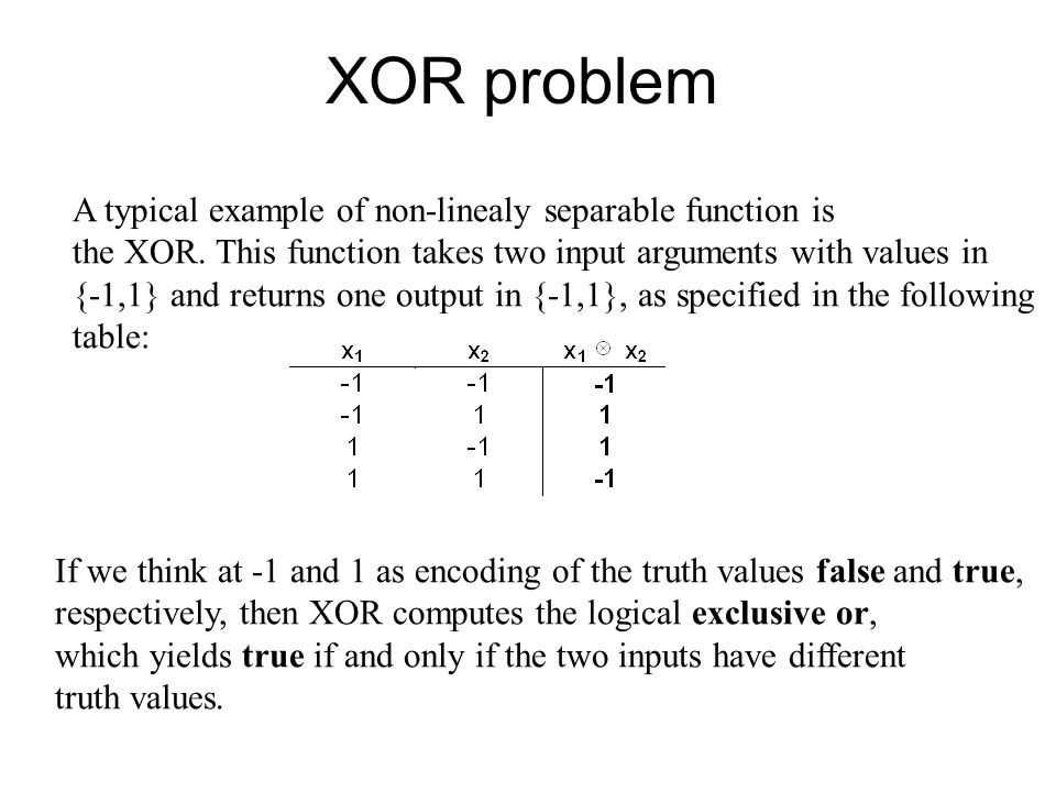 XOR problem A typical example of non-linealy separable function is