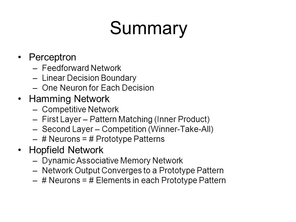 Summary Perceptron Hamming Network Hopfield Network