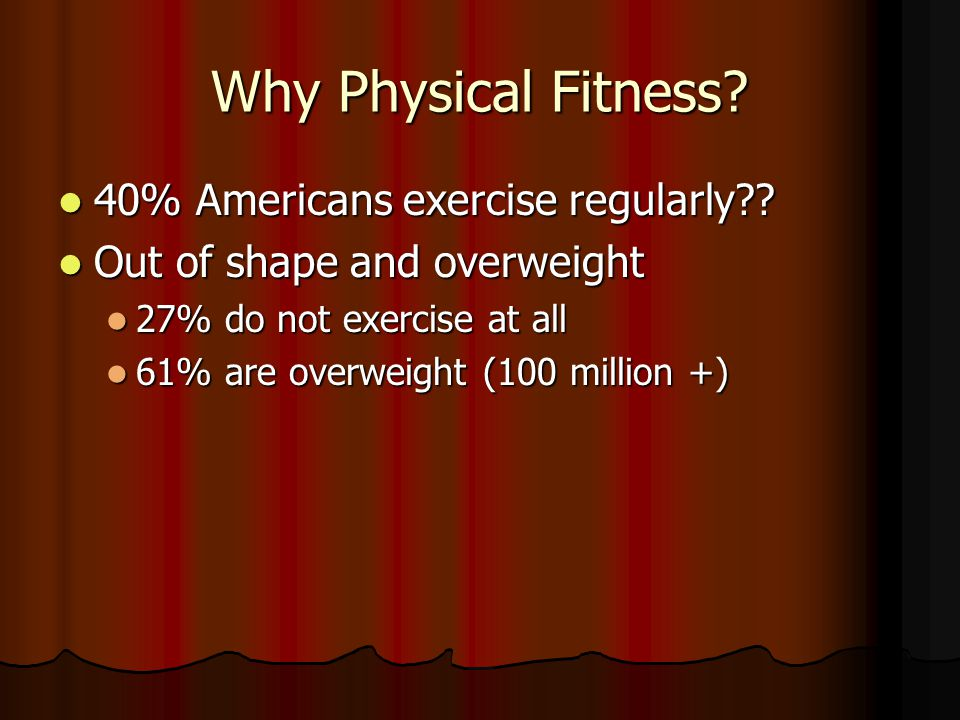 Why Physical Fitness 40% Americans exercise regularly