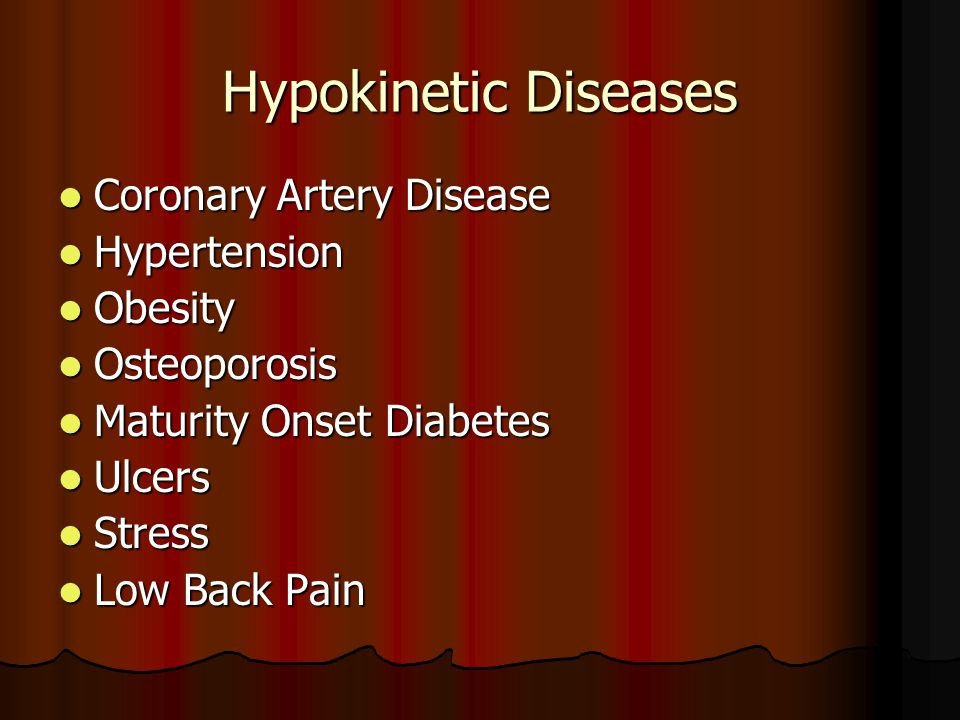 Hypokinetic Diseases Coronary Artery Disease Hypertension Obesity
