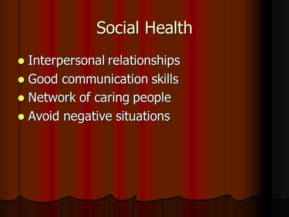 Social Health Interpersonal relationships Good communication skills