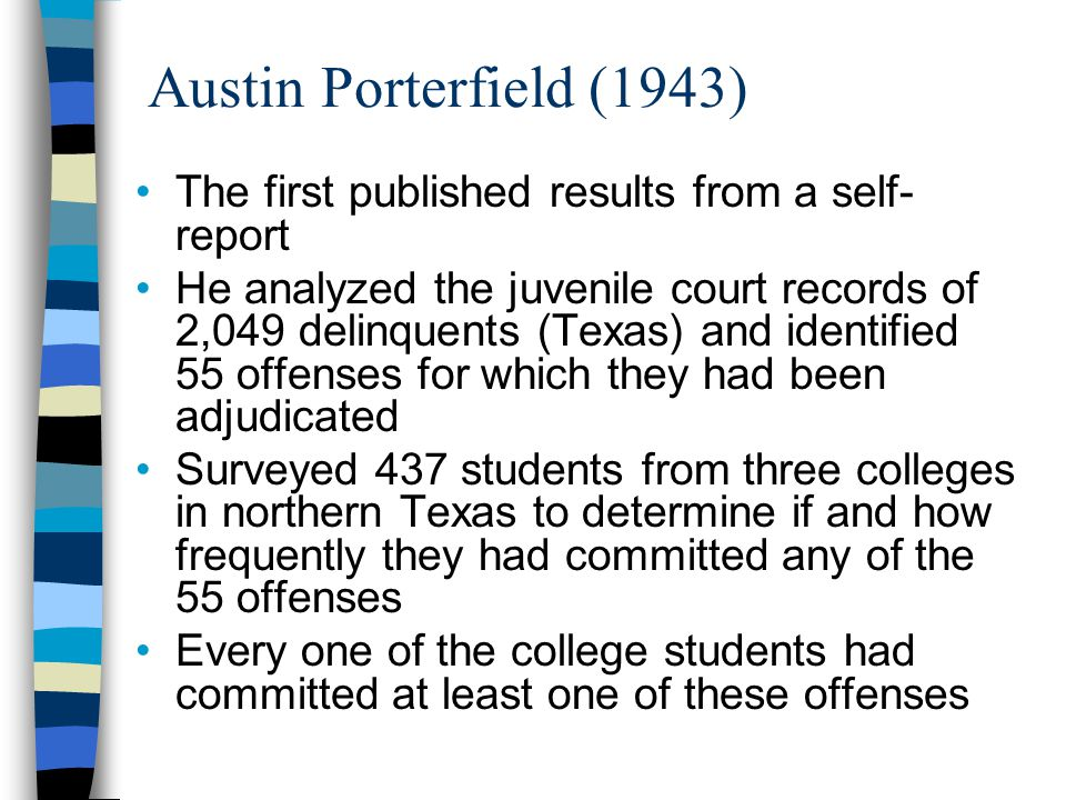 Austin Porterfield (1943) The first published results from a self-report.