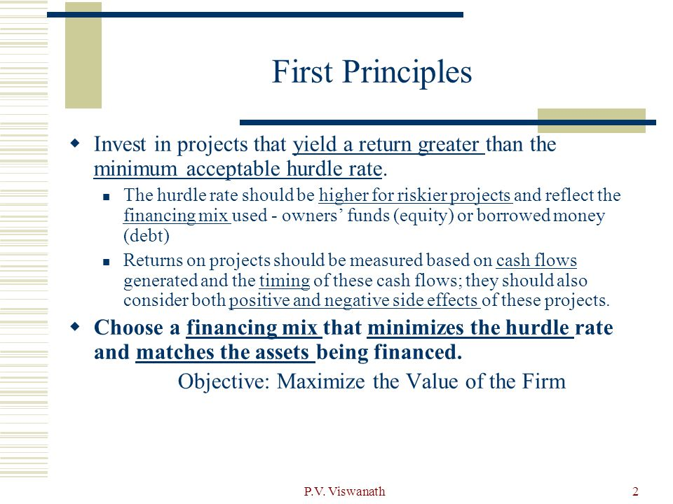 Objective: Maximize the Value of the Firm