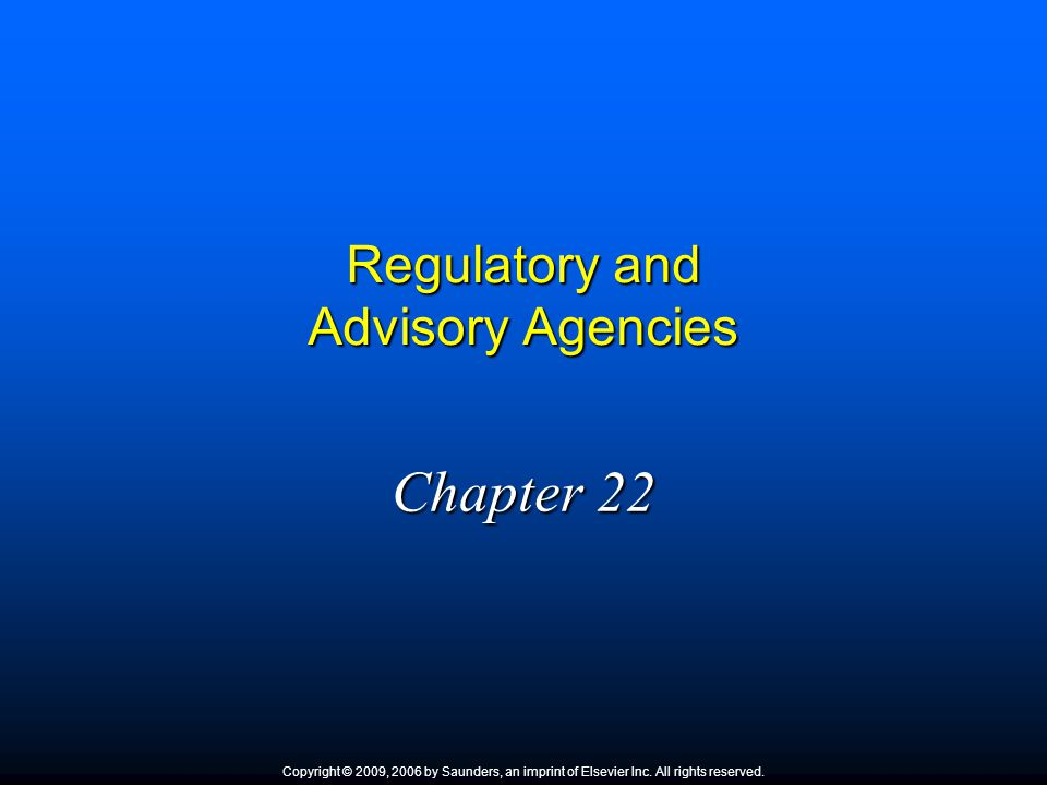 Regulatory and Advisory Agencies
