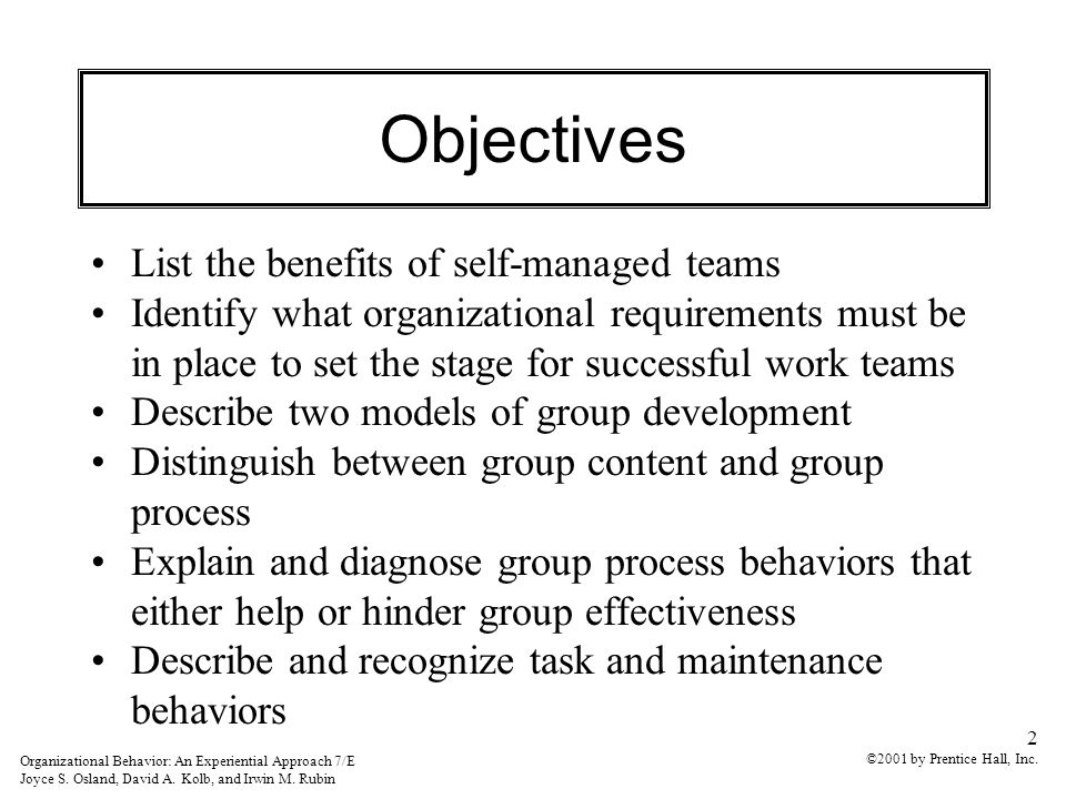 Objectives List The Benefits Of Self Managed Teams