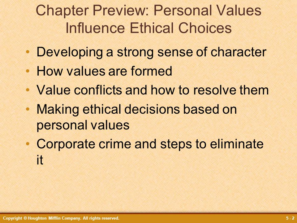 personal ethical values