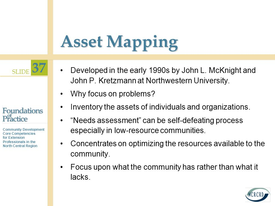 Asset Mapping Developed in the early 1990s by John L. McKnight and John P. Kretzmann at Northwestern University.