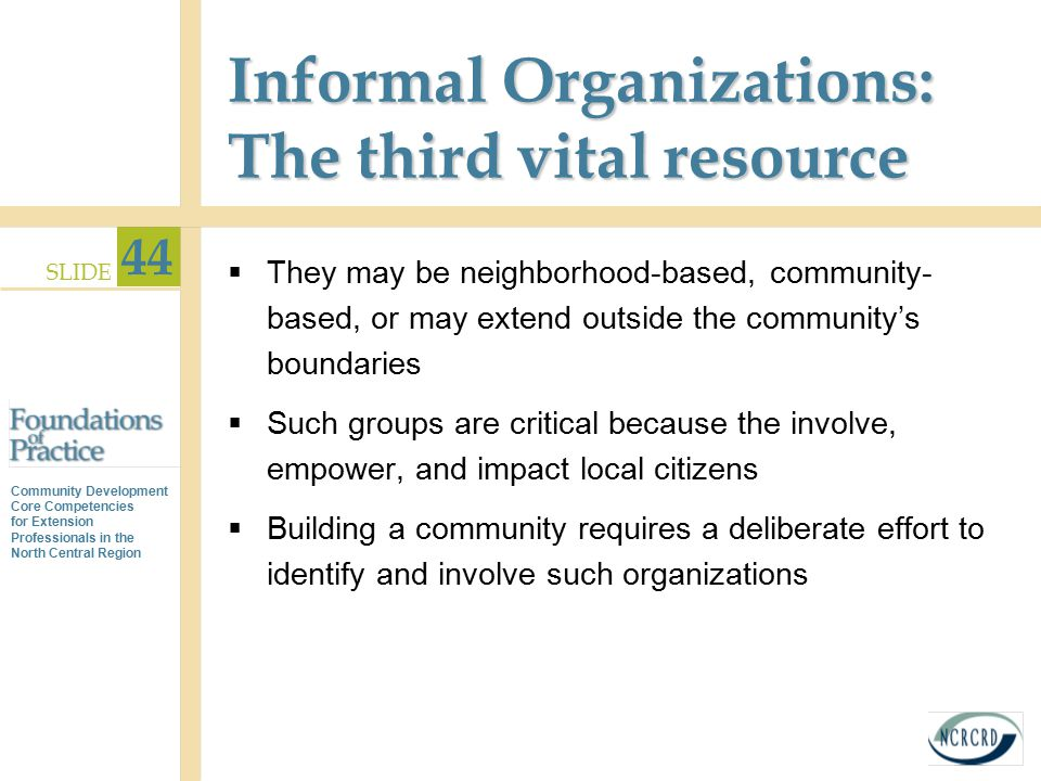 Informal Organizations: The third vital resource