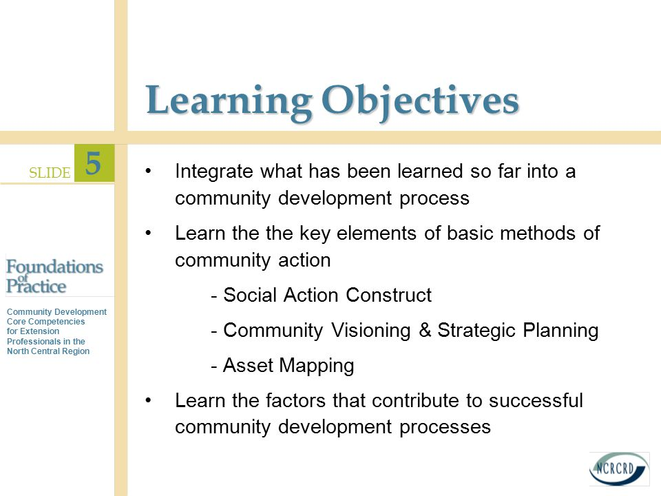 Learning Objectives Integrate what has been learned so far into a community development process.