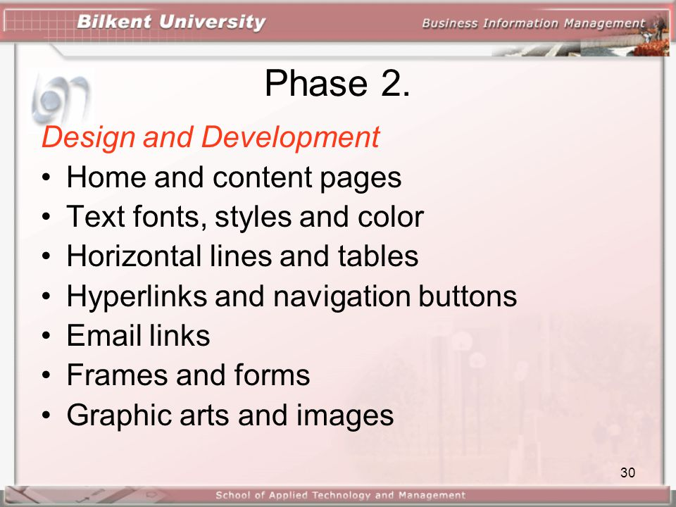 Phase 2. Design and Development Home and content pages