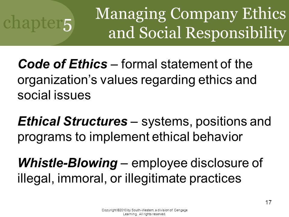 Managing Company Ethics and Social Responsibility