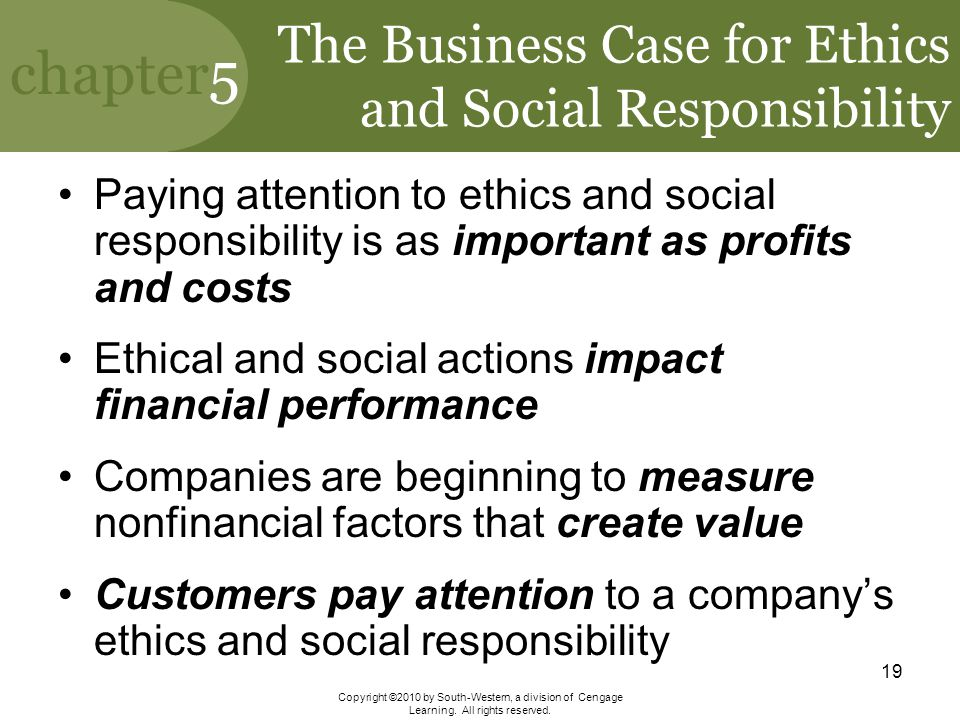 The Business Case for Ethics and Social Responsibility
