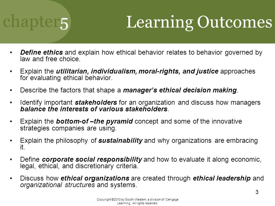 Learning Outcomes Define ethics and explain how ethical behavior relates to behavior governed by law and free choice.