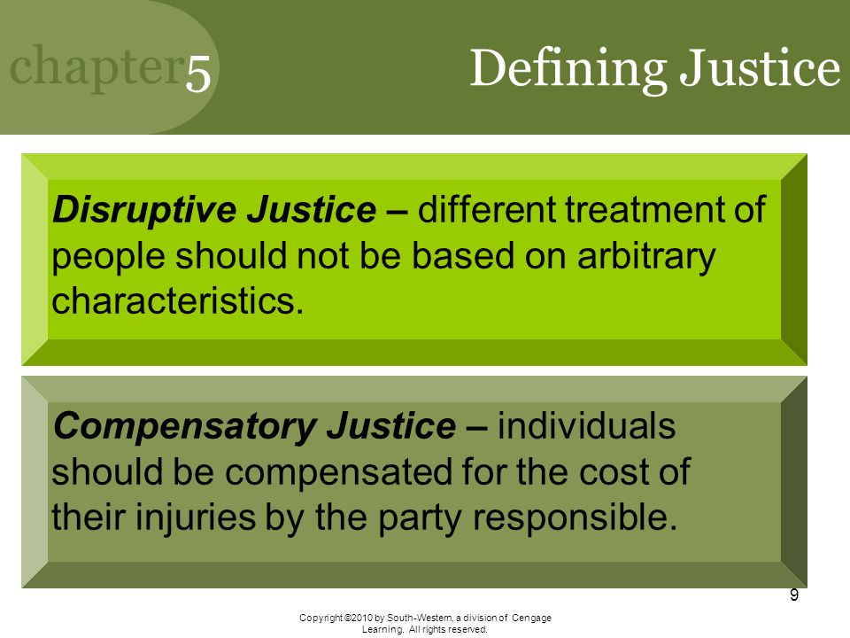 Defining Justice Disruptive Justice – different treatment of people should not be based on arbitrary characteristics.