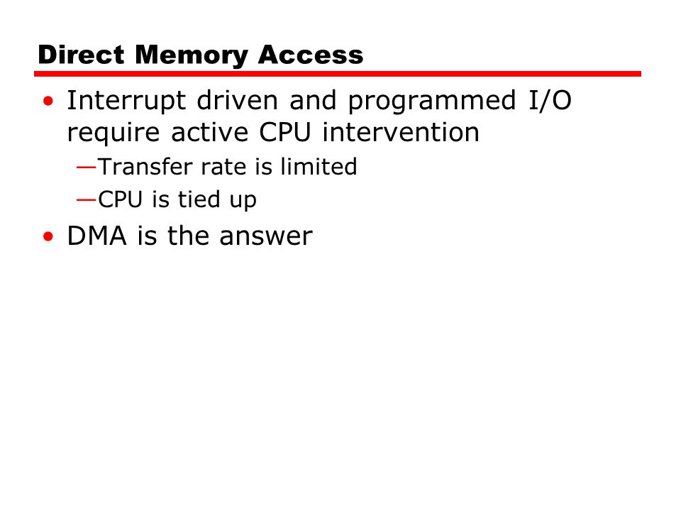 Interrupt driven and programmed I/O require active CPU intervention