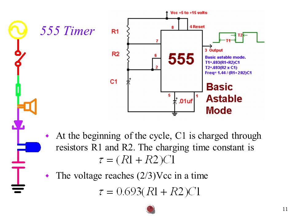 555 Timer At the beginning of the cycle, C1 is charged through resistors R1 and R2. The charging time constant is.