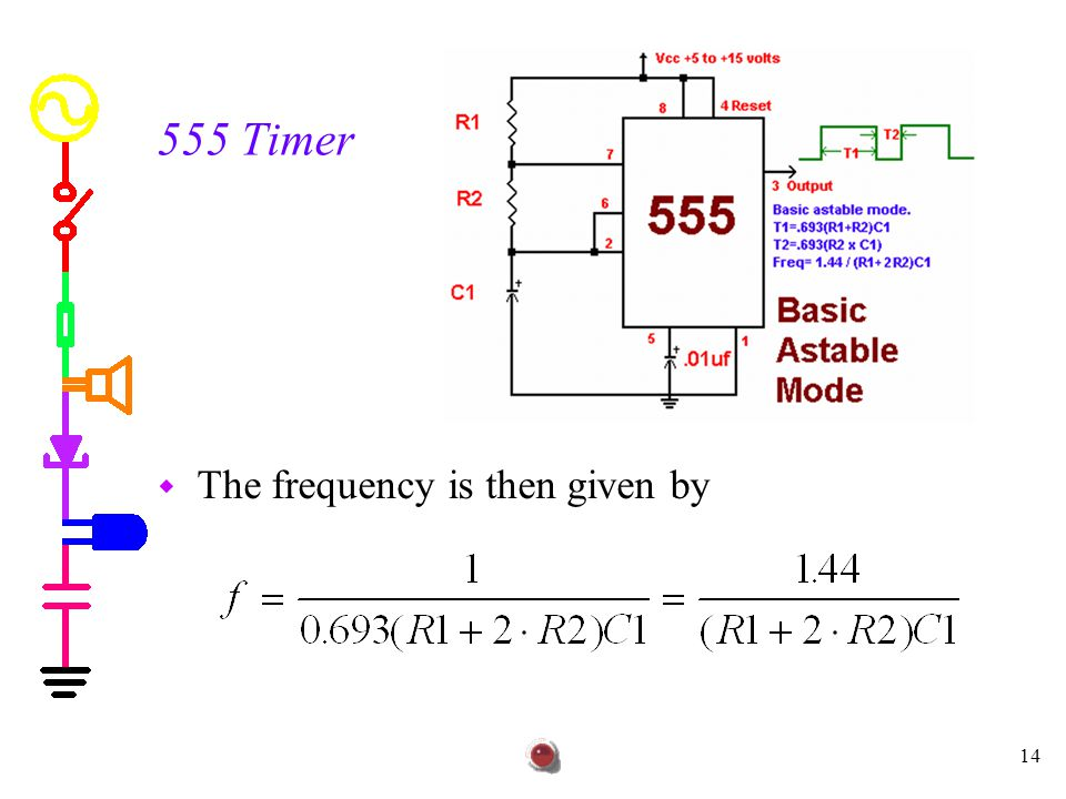 555 Timer The frequency is then given by