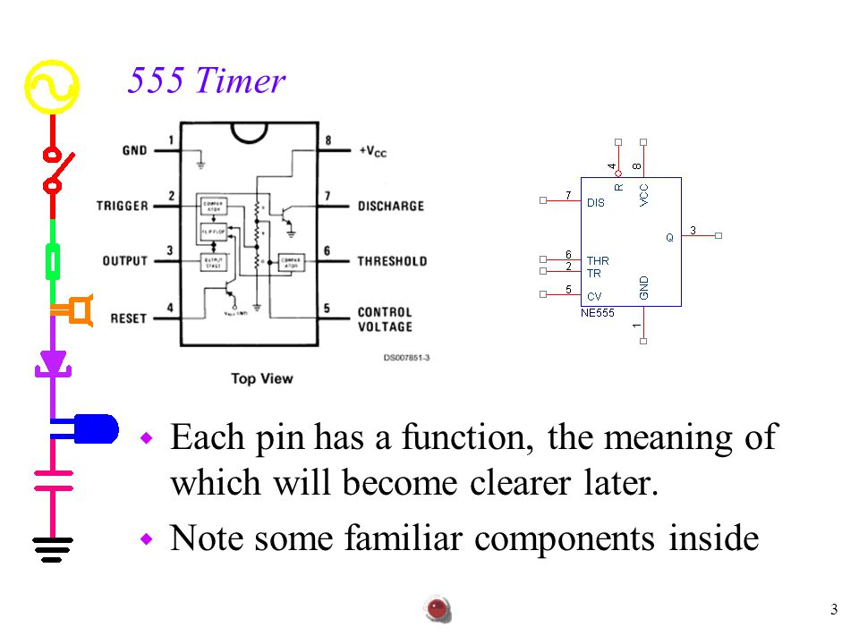 555 Timer Each pin has a function, the meaning of which will become clearer later.