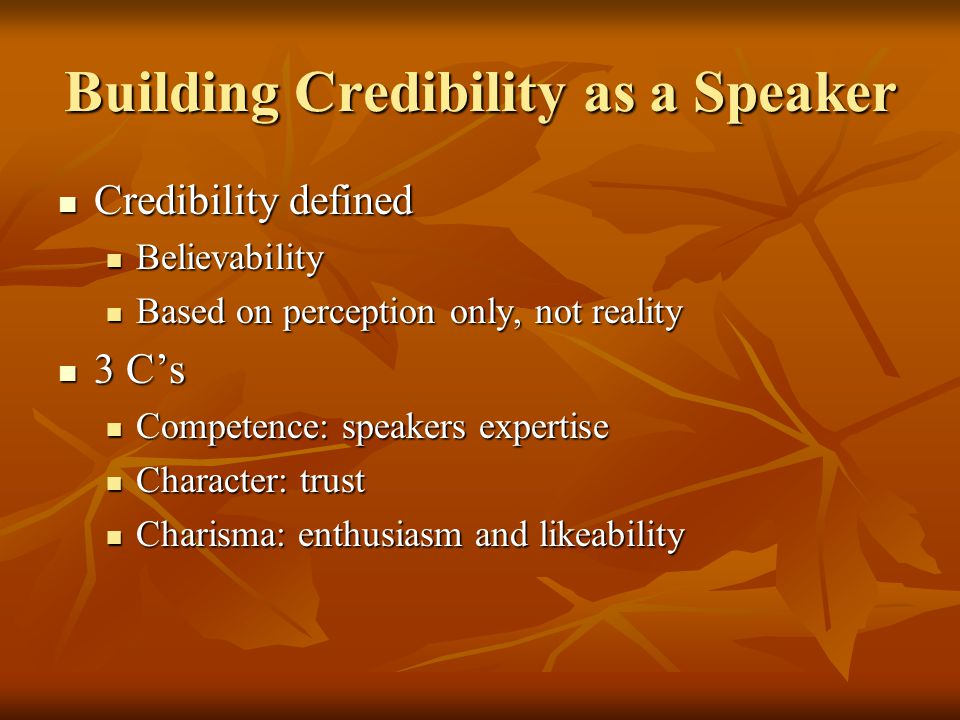 Building Credibility as a Speaker