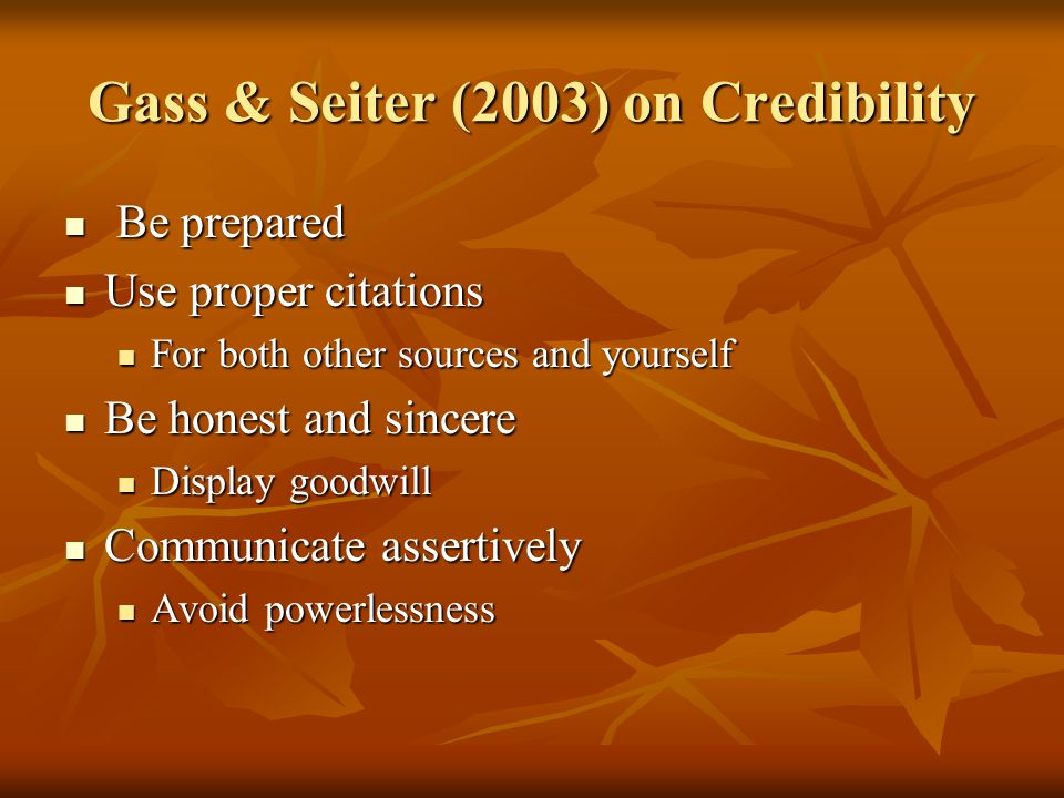 Gass & Seiter (2003) on Credibility