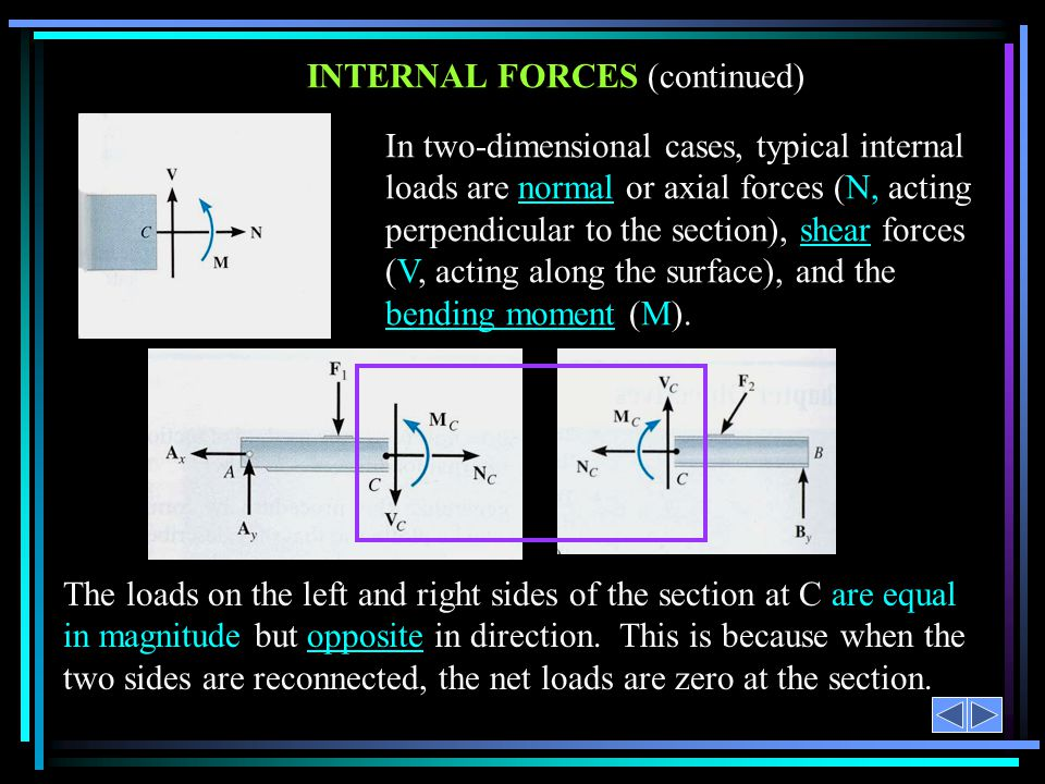 INTERNAL FORCES (continued)