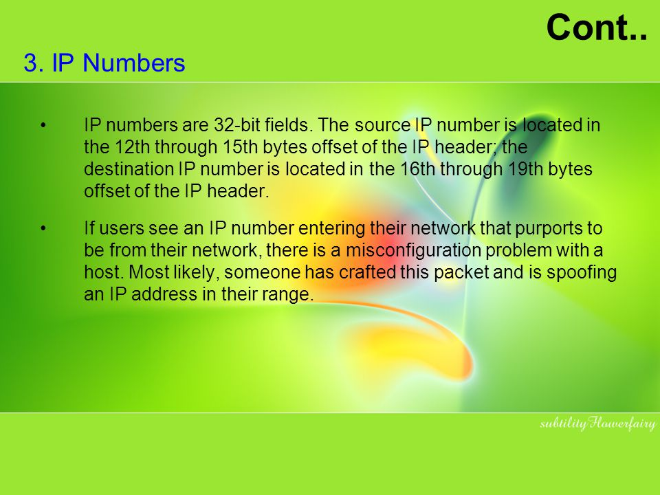 Cont.. 3. IP Numbers.