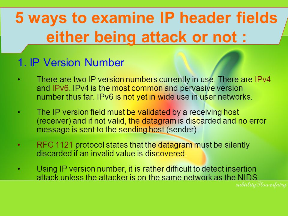 5 ways to examine IP header fields either being attack or not :