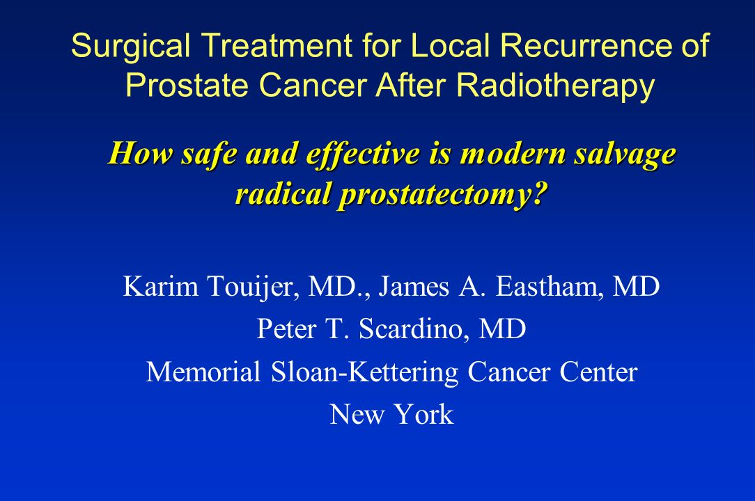 How safe and effective is modern salvage radical prostatectomy