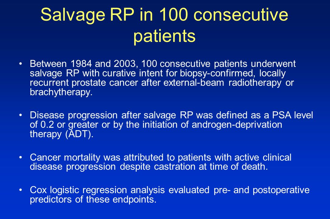 Salvage RP in 100 consecutive patients