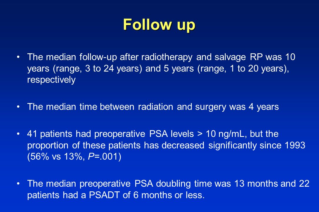 Follow up The median follow-up after radiotherapy and salvage RP was 10 years (range, 3 to 24 years) and 5 years (range, 1 to 20 years), respectively.