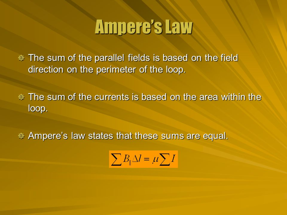 Ampere's Law The sum of the parallel fields is based on the field direction on the perimeter of the loop.