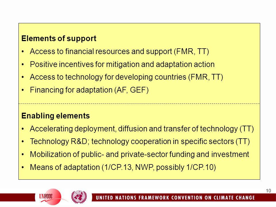 Elements of support Access to financial resources and support (FMR, TT) Positive incentives for mitigation and adaptation action.